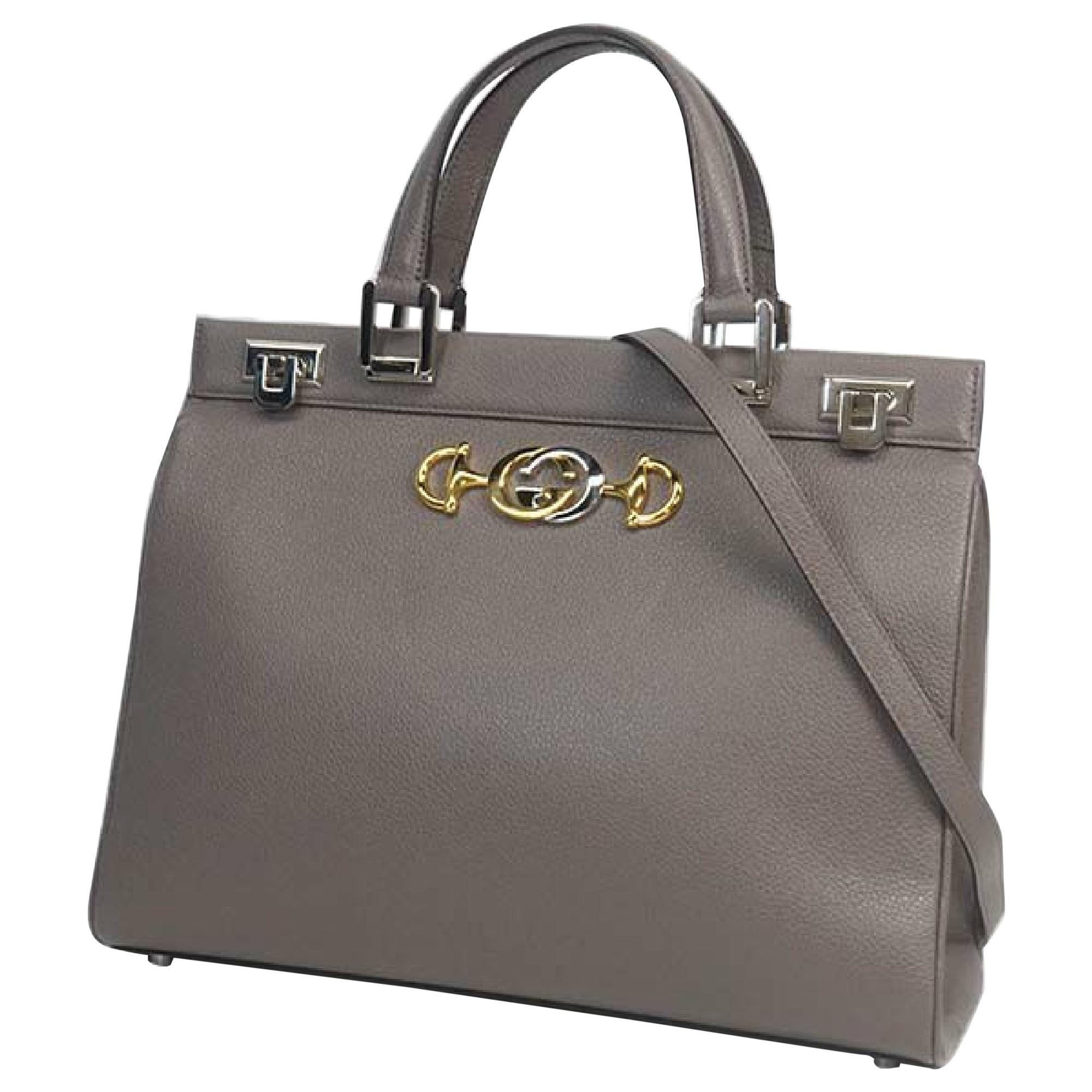GUCCI Zumi medium top handle 2WAY shoulder bag Womens handbag 364714 gray