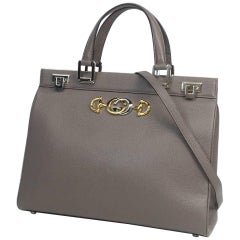 GUCCI Zumi medium top handle 2WAY shoulder bag Womens handbag 364714 gray