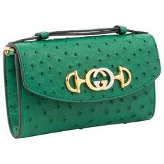 Gucci Zumi Ostrich Crossbody Clutch Bag