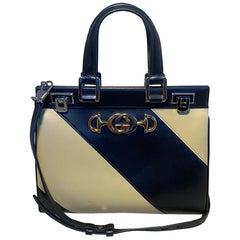Gucci Zumi Shibuya Black and Tan Medium Top Handle Bag