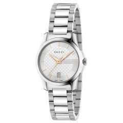 GUCCIG-Timeless Silver Dial Stainless Steel Ladies Watch YA126523