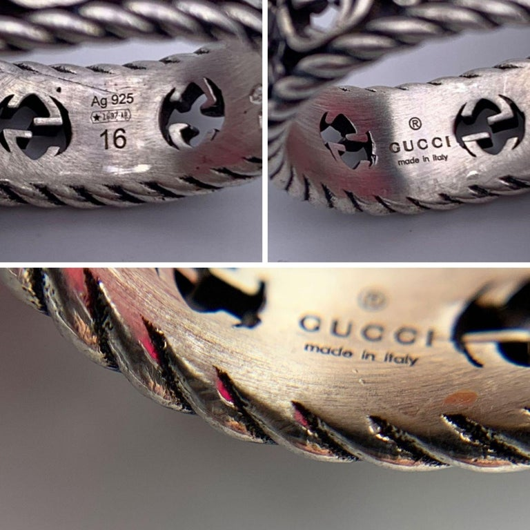 Gucci Sterling Silver Red Oval Crystal Stone Ring Size 16 Never Worn In New Condition For Sale In Rome, Rome