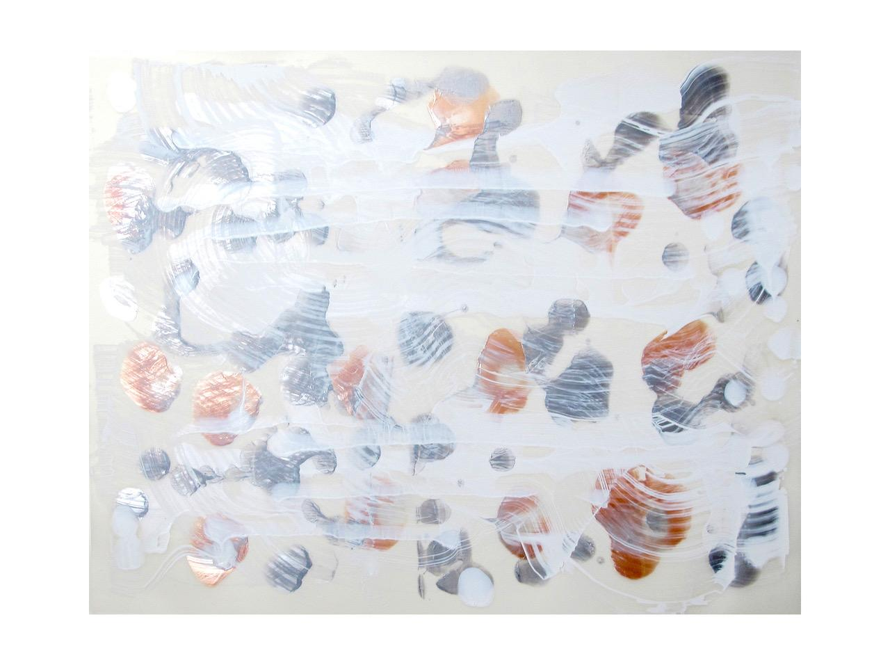 """Gudrun Mertes-Frady """"BETWEEN THE LINES #8"""" -- Abstract Painting on Paper"""