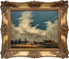 Oil Painting of Dutch Estuary Boat Scene with Horses & Figures by British Artist