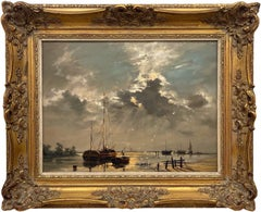 Oil Painting of Evening Scene with Moored Boats in Estuary by British Artist
