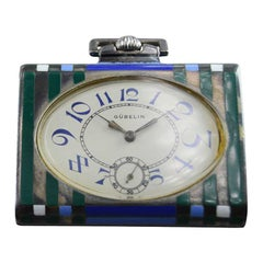 Guebelin Art Deco Sterling and Enamel Purse Watch, circa 1920s