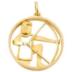 Güeblin 18 Karat Gold Sagittarius Zodiac Astrological Symbol Charm/Pendant