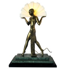 Guerbe Le Verrier Style Nude Egyptian Lamp with Marble Base