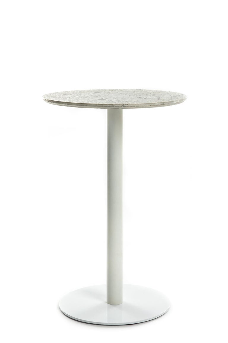 Industrial Guéridon / Bistro Table 'I' in Black Terrazzo For Sale