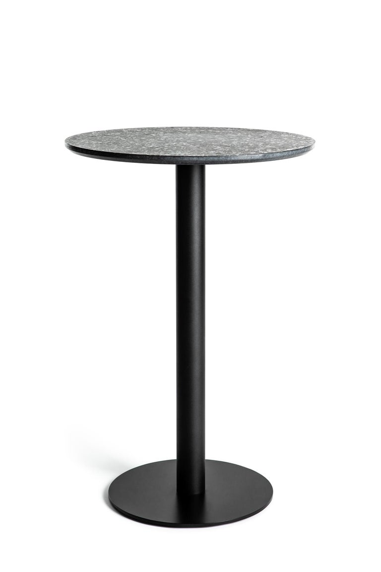 Chinese Guéridon / Bistro Table 'I' in White Terrazzo For Sale