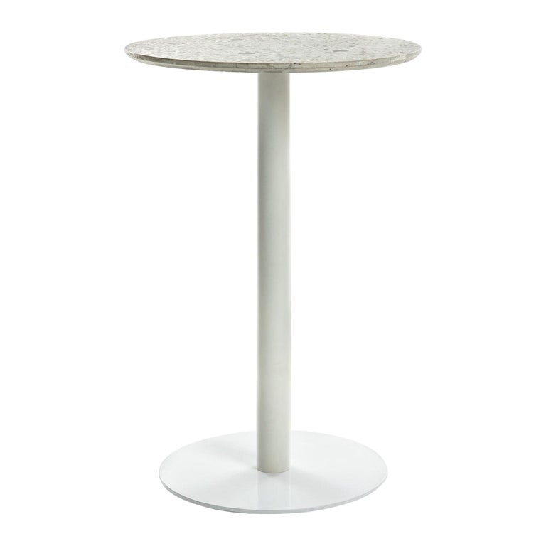 Guéridon / Bistro Table 'I' in White Terrazzo For Sale