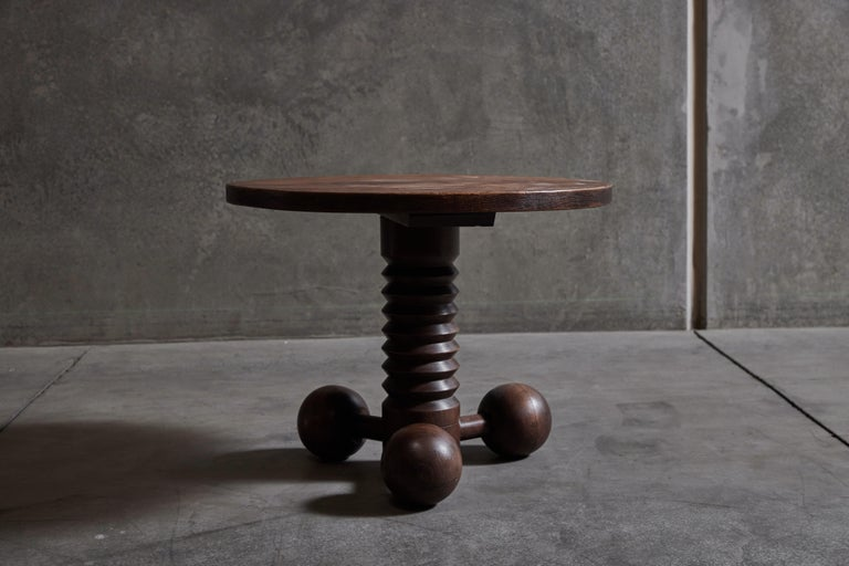 Rare wood pedestal side table by Charles Dudouyt. Made in France, circa 1930s.