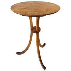 Gueridon Maple Wood End Table with Cabriole Leg Tripod Base