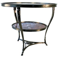 Gueridon Marble Table, Red Italian Marble, Bronze Casting Style of