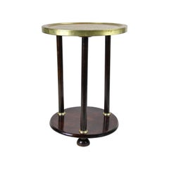 Gueridon Side Table with Brass Table Top Attributed to Kohn, Austria, circa 1910
