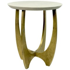 Gueridon Table in Shagreen and Textured Brass by Ginger Brown