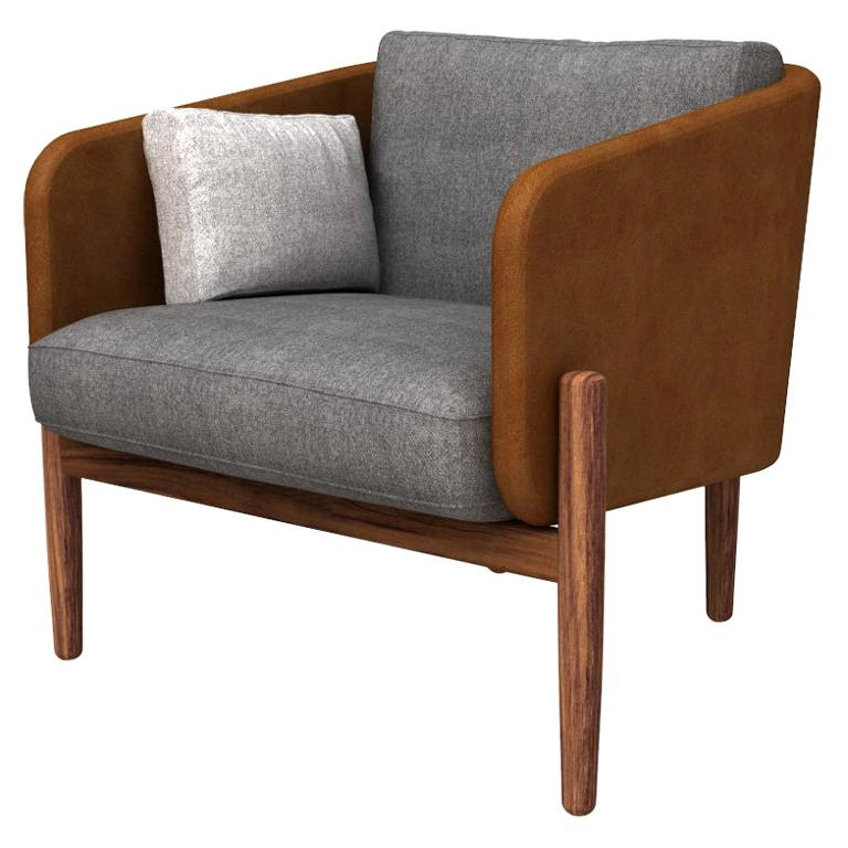 Guerrero Armchair, Leather and Dark Tropical Wood, Contemporary Mexican Design
