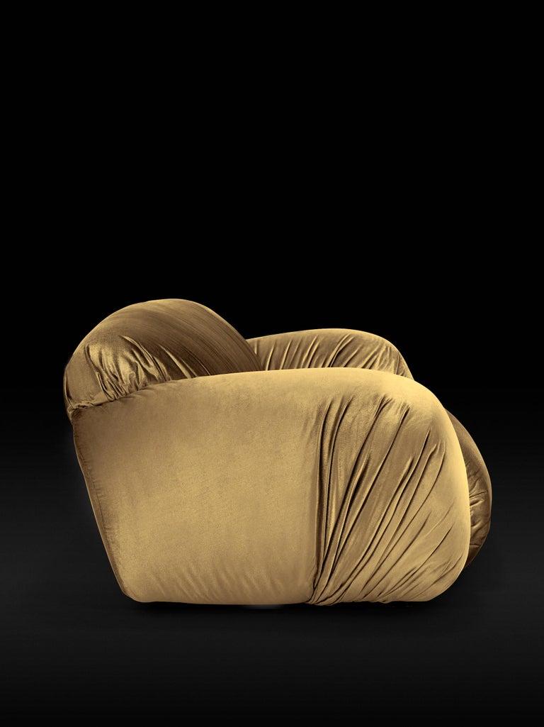 Modern DISCO GUFRAM Betsy Sofa in Gold Velvet by Atelier Biagetti For Sale