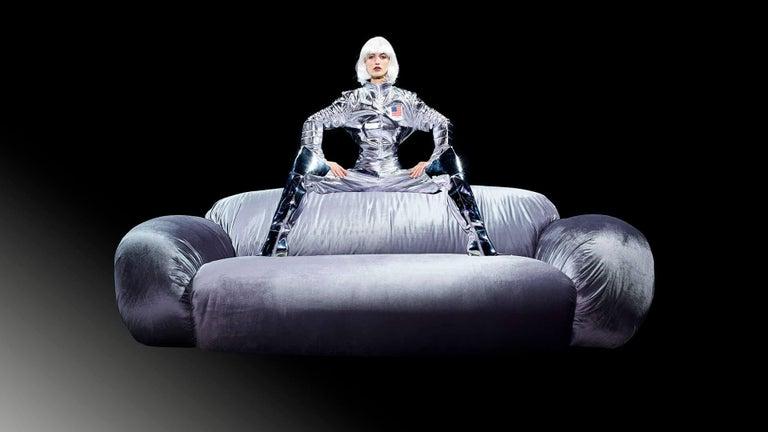 Modern DISCO GUFRAM Betsy Sofa in Pink Velvet by Atelier Biagetti For Sale