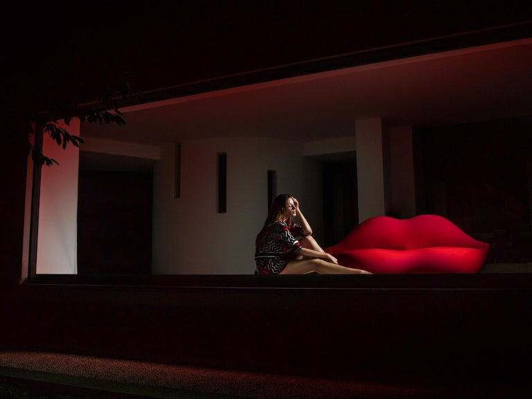 Contemporary GUFRAM Bocca Couch in Fire Red by Studio 65 For Sale