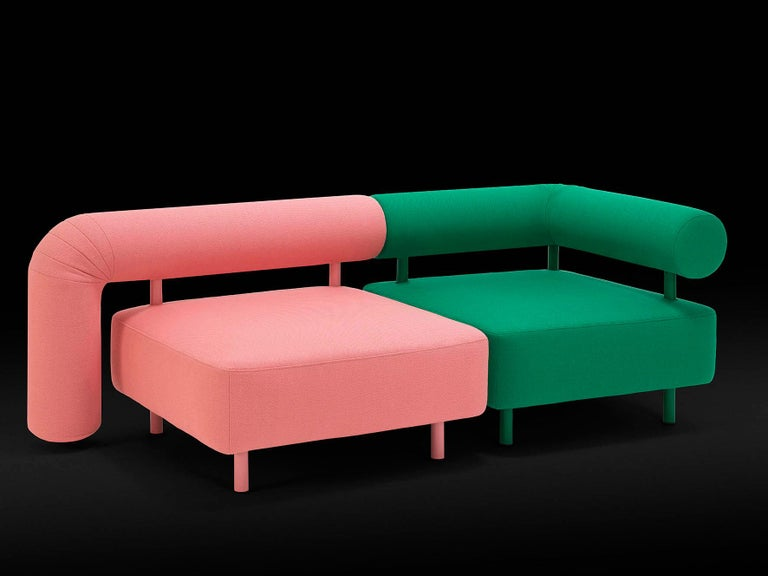 Modern DISCO GUFRAM Charly Armchair in Pink by Atelier Biagetti For Sale
