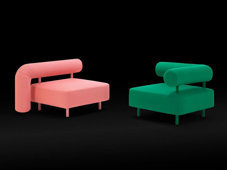 Italian DISCO GUFRAM Charly Armchair in Pink by Atelier Biagetti For Sale