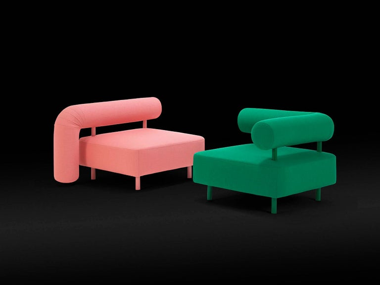 DISCO GUFRAM Charly Armchair in Pink by Atelier Biagetti In New Condition For Sale In Barolo, IT
