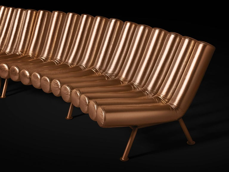 Ideally modular ad infinitum, Jimmy is a lively unconventional and totally customizable seating system. The convex version is an invitation to play with its shapes and their orientation, with which even a gigantic circular shape can be created: it