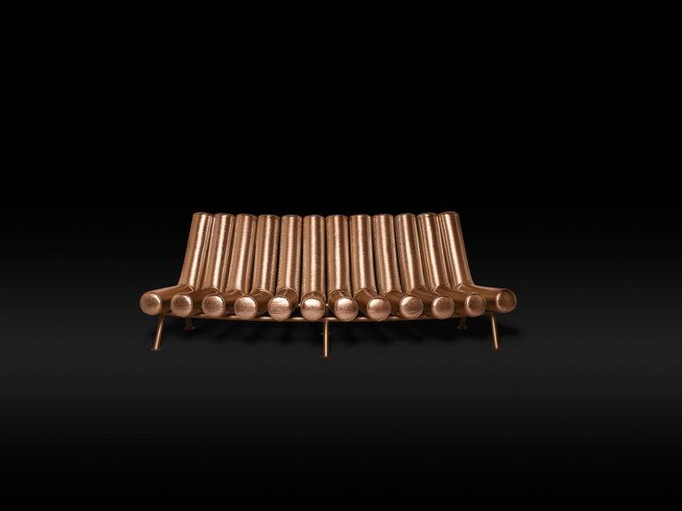 Italian DISCO GUFRAM Jimmy Convex Sofa in Bronze by Atelier Biagetti For Sale