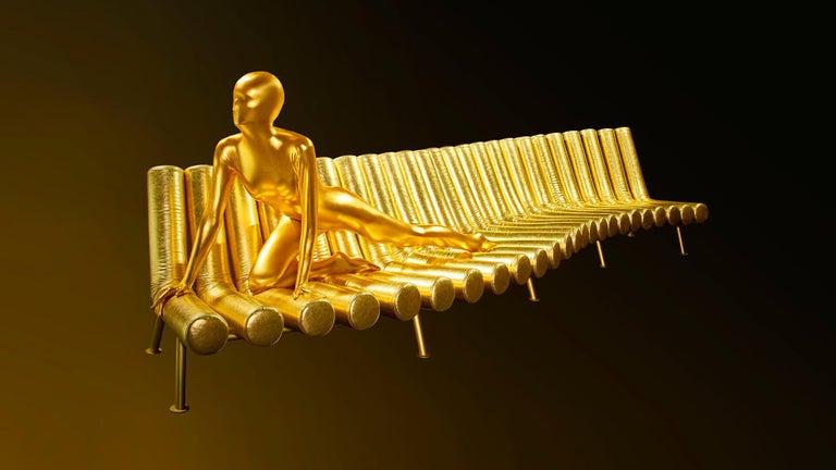 DISCO GUFRAM Jimmy Convex Sofa in Gold by Atelier Biagetti 6