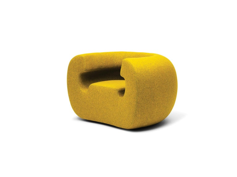 Modern Gufram Roxanne Armchair in Yellow Melange by Michael Young For Sale