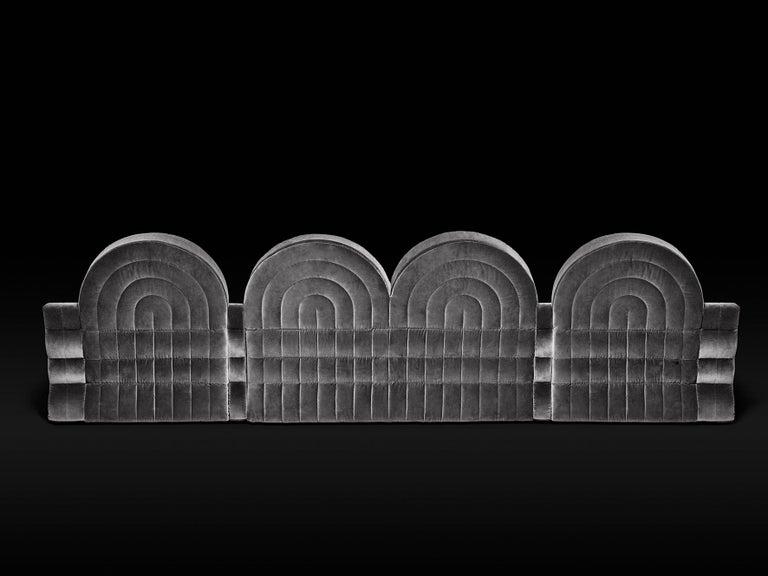 Modern DISCO GUFRAM Stanley Sofa in Silver by Atelier Biagetti For Sale