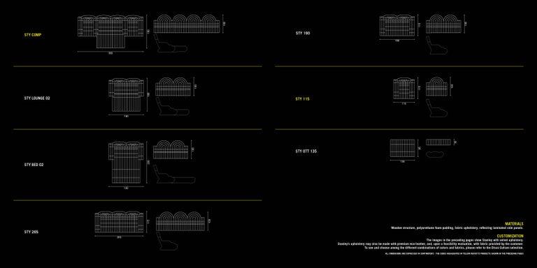 Velvet DISCO GUFRAM Stanley Sofa in Silver by Atelier Biagetti For Sale