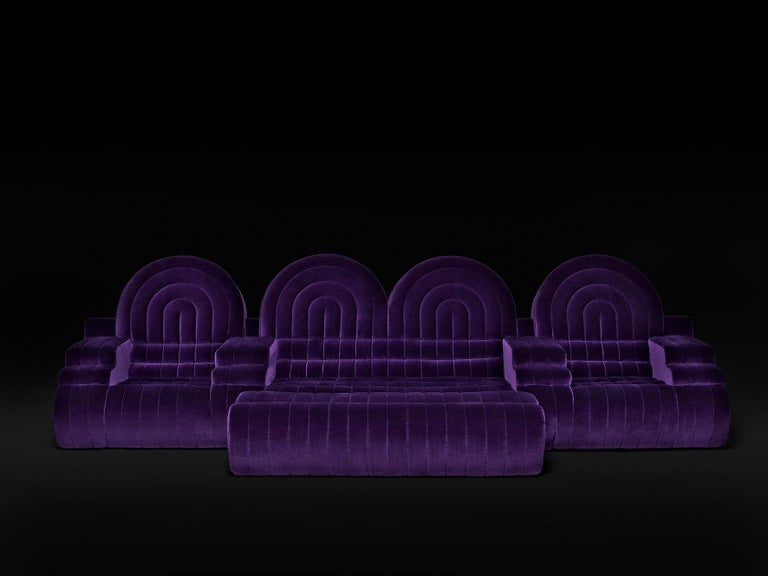 Modern DISCO GUFRAM Stanley Sofa in Violet by Atelier Biagetti For Sale