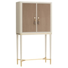 Guga Bar Cabinet with Lined Doors and Antique Brass Feet and Handles