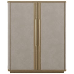 Guga Cabinet with Lined Doors and Antique Brass Handles