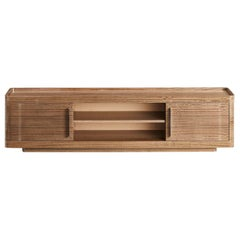 Guga TV Sideboard in Grey Eucaliptus Frisé and Polished Stainless Steel Handles