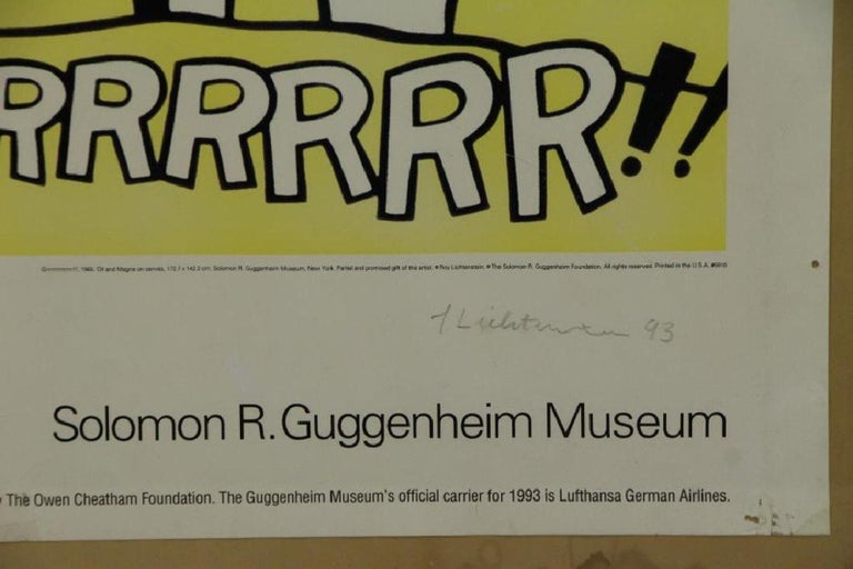Guggenheim Museum exhibition poster  Signed in pencil by artist on lower right.   Grrrrrrrrrrr!! is a 1965 oil and Magna on canvas painting by Roy Lichtenstein. Measuring 68 in × 56.125 in (172.7 cm × 142.6 cm), it was bequeathed to the Solomon R.