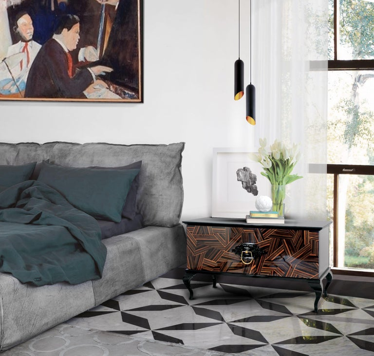 Modern Guggenheim Nightstand with Wood Veneer For Sale