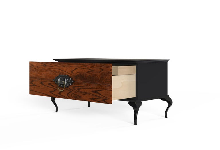 Lacquered Guggenheim Nightstand with Wood Veneer For Sale