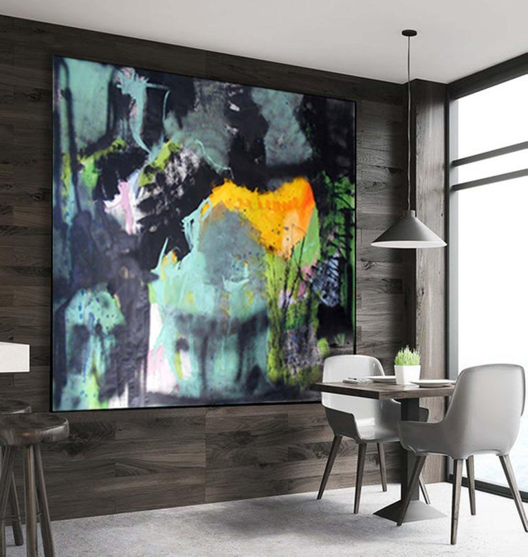 Abstract green, Painting, Acrylic on Paper - Black Abstract Painting by Gugi Goo
