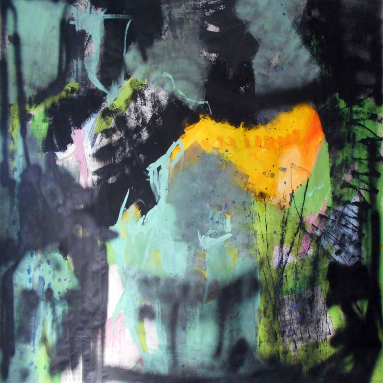 Gugi Goo Abstract Painting - Abstract green, Painting, Acrylic on Paper