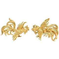 Guglielmo Cini 1960s Vintage 14 Karat Gold Rooster Brooch Clips