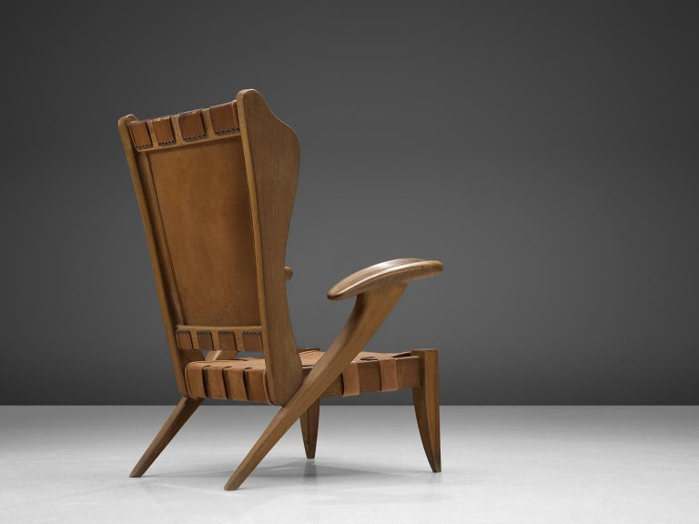Mid-Century Modern Guglielmo Pecorini Cognac Leather Lounge Chair For Sale