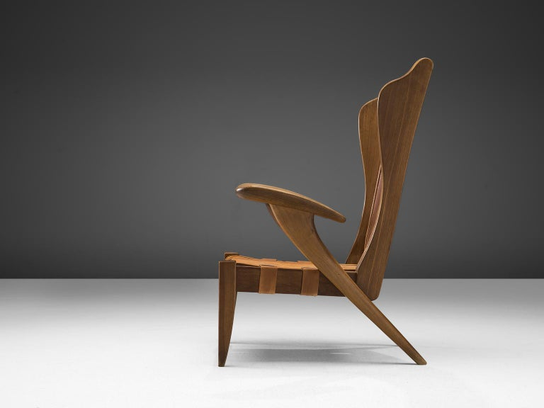 Italian Guglielmo Pecorini Cognac Leather Lounge Chair For Sale