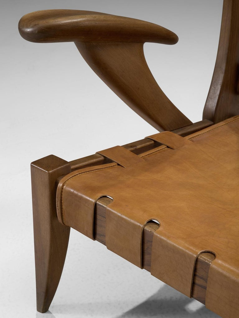 Mid-20th Century Guglielmo Pecorini Cognac Leather Lounge Chair For Sale
