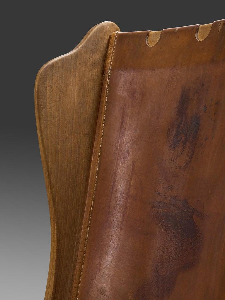 Guglielmo Pecorini Cognac Leather Lounge Chair For Sale 1