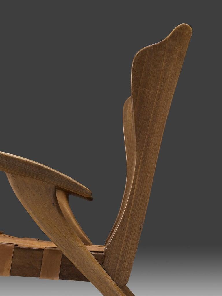 Guglielmo Pecorini Cognac Leather Lounge Chair For Sale 2