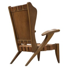 Guglielmo Pecorini Cognac Leather Lounge Chair