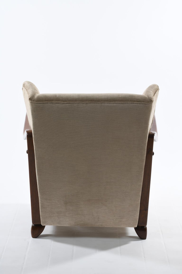 Guglielmo Pecorini Italian Midcentury Four Published Armchairs, Velvet Covered For Sale 5